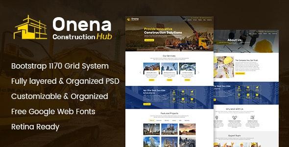 Onena Construction Hub PSD Template - Business Corporate