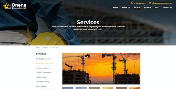 Onena Construction Hub PSD Template
