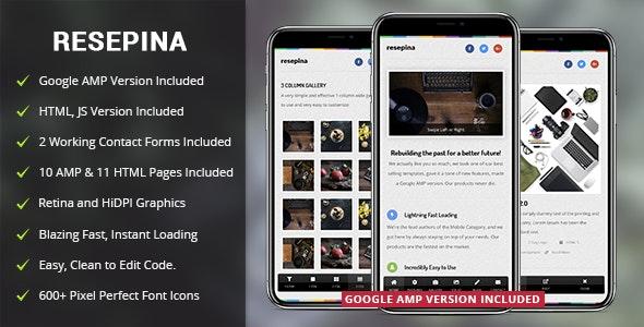 Resepina Mobile Template & Google AMP - Mobile Site Templates