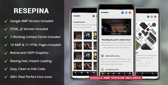 Resepina Mobile Template & Google AMP
