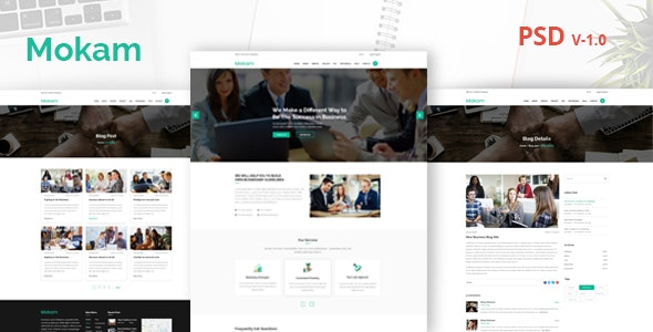 Mokam - Business and Corporate  PSD Template - Business Corporate