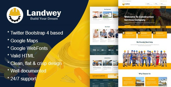 Landwey - Construction Multipurpose and HTML5 Bootstrap4 Responsive Template - Business Corporate