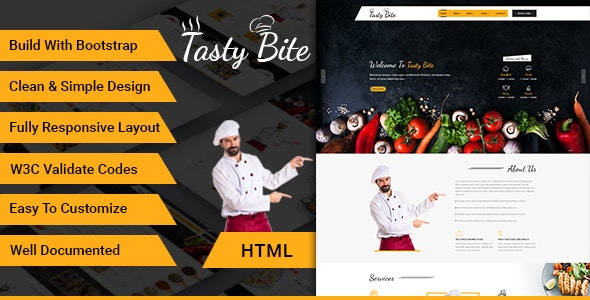Tastybite Food Restaurant Bootstrap HTML5 Template - Food Retail