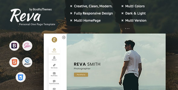 Reva - Personal One Page Template - Personal Site Templates
