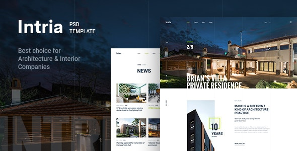 Intria - Architecture & Interior PSD Template - Portfolio Creative