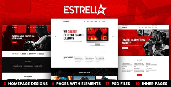 Estrella 3-in-1 PSD Template - Marketing Corporate