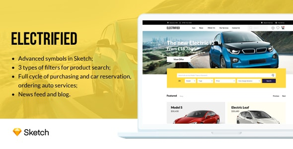 Electrified - Electric Cars Sketch Template - Corporate Sketch