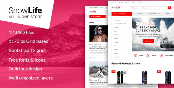 Snow Life - Winter Sports Store PSD Template - Shopping Retail