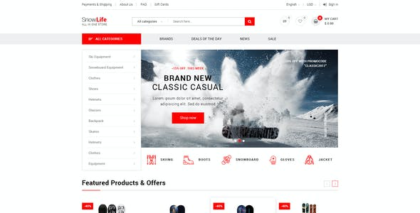 Snow Life - Winter Sports Store PSD Template