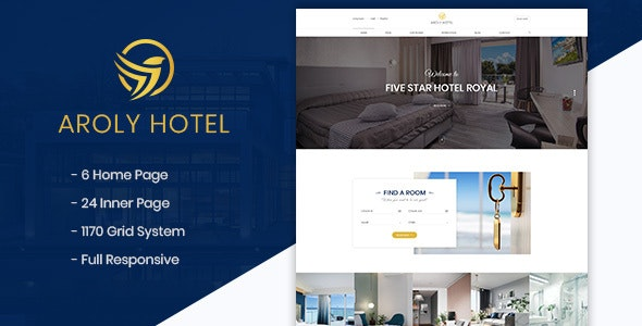 Aroly | Hotel and Accommodation Booking PSD Template - Travel Retail