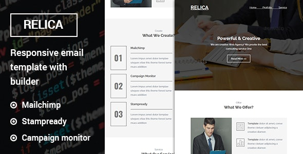 Relica - Responsive Email Template with Stampready Builder - Newsletters Email Templates
