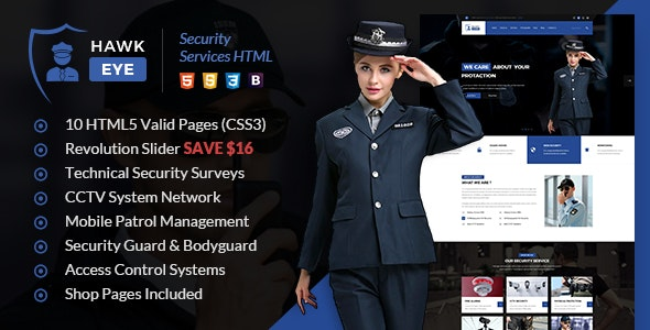 Hawkeye - Security Services & Guarding HTML Template - Business Corporate