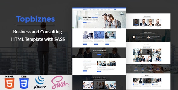 Topbiznes - Business and Consulting HTML Template with SASS - Business Corporate