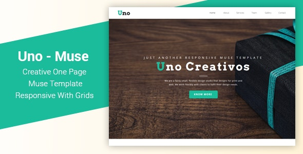 Uno - Responsive One Page Muse Template - Creative Muse Templates