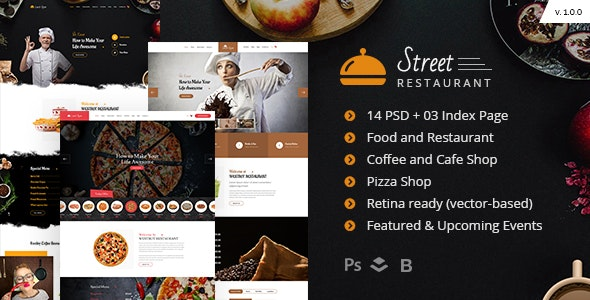 Street Restaurant PSD Template - Food Retail
