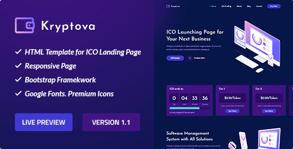 ICO Kryptova - ICO Landing Page, Cryptocurrency Template - Technology Site Templates