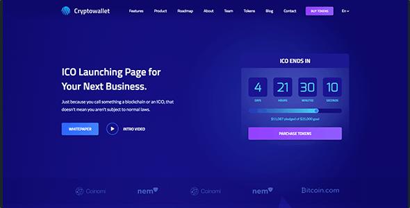 ICO Kryptova - ICO Landing Page, Cryptocurrency Template