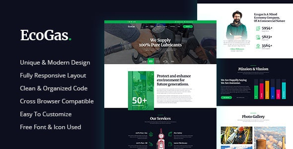 EcoGas - Petrol Pump Business HTML Template by THESOFTKING