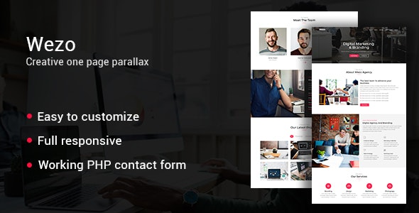 Wezo - creative one page parallax - Creative Site Templates