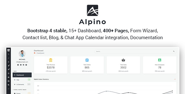 Alpino - Bootstrap 4 Admin Dashboard Template by wrraptheme