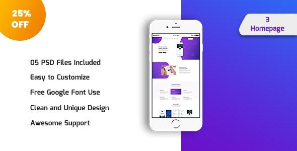 Mons Appy - App Landing PSD Template - Photoshop UI Templates