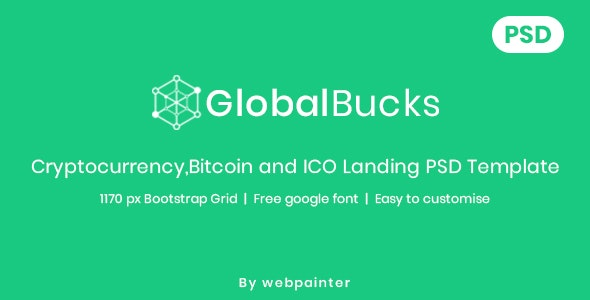 GlobalBucks - Bitcoin and Cryptocurrency PSD Template - Business Corporate