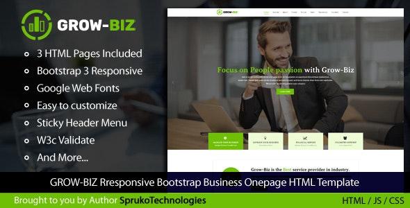 Grow-Biz – Business & Multipurpose Responsive OnePage HTML Template - Business Corporate