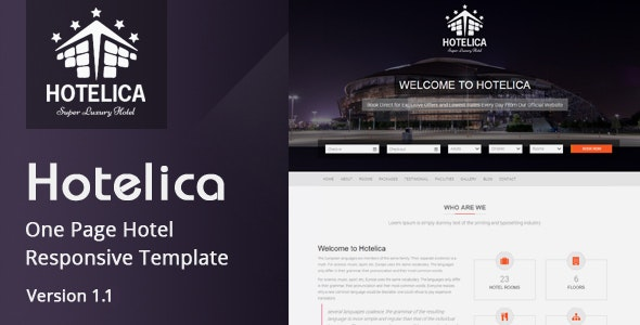 Hotelica - Responsive Hotel HTML Template - Site Templates