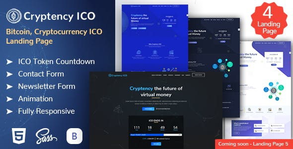 Cryptency ICO - Cryptocurrency and Bitcoin responsive landing page template