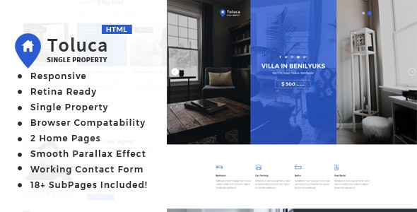 Toluca: Single Property Real Estate HTML Template - Business Corporate