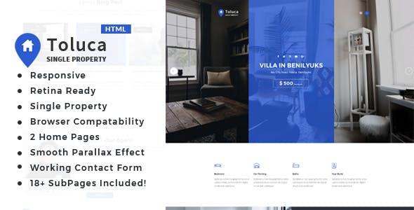 Toluca: Single Property Real Estate HTML Template