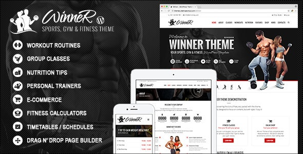 Winner - Fitness & Gym WordPress Theme - Health & Beauty Retail