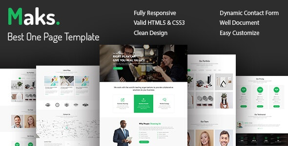 Maks - Onepage Multipurpose Responsive HTML5 Template - Corporate Site Templates