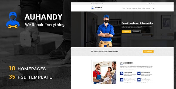 Handyblue - Handyman and Repair Services PSD Template - Business Corporate