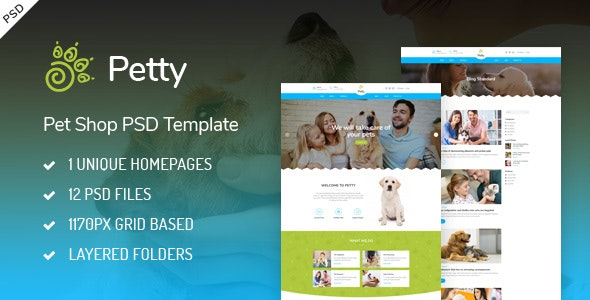 Pet Shop - PSD Template - Retail Photoshop