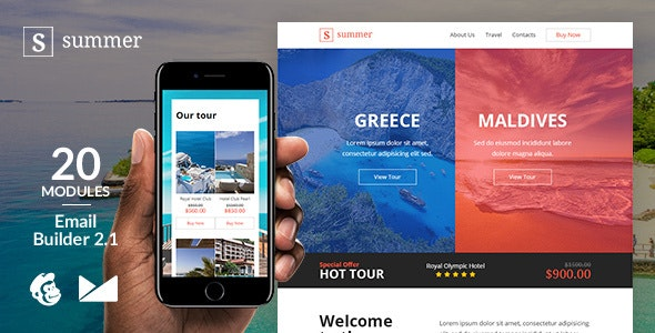 Summer Responsive Email Template + Online Emailbuilder 2.1 - Newsletters Email Templates