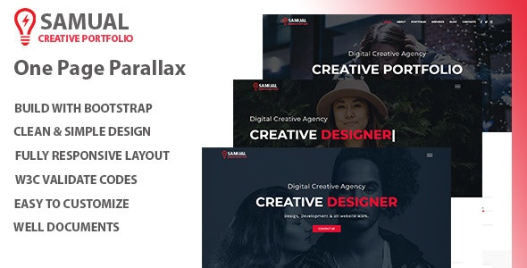 Samual - One Page Parallax HTML Template - Site Templates