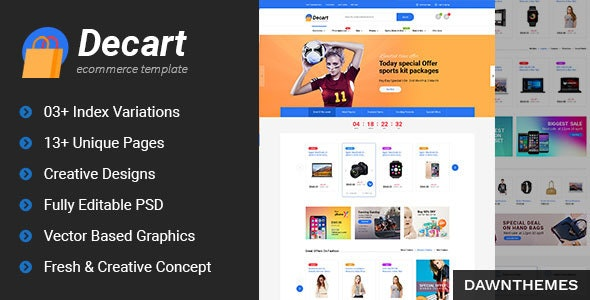 Decart - eCommerce PSD Template - Retail Photoshop