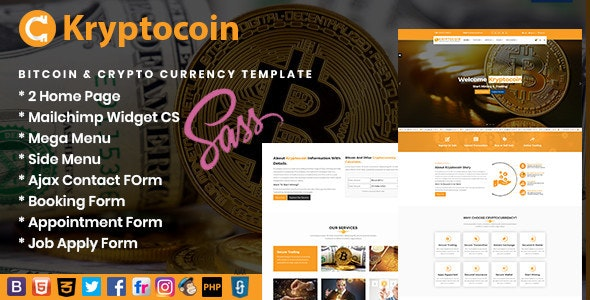 Kryptocoin Bitcoin & Crypto Currency Template - Business Corporate