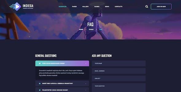 Indiega - Gaming PSD Template