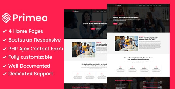 Primeo - One Page Corporate and Business HTML Template - Business Corporate