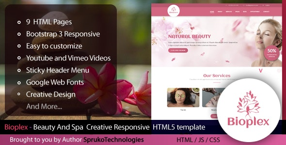 Bioplex -  Beauty And Spa Creative Responsive HTML5 Template - Health & Beauty Retail