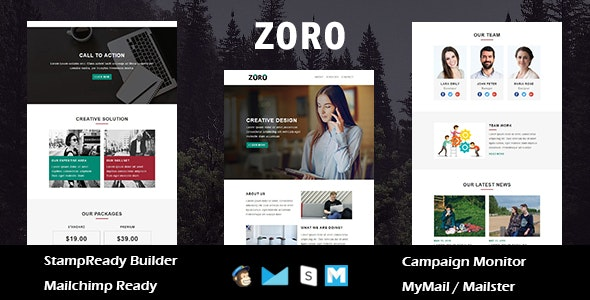 Zoro - Multipurpose Responsive Email Template With Online StampReady Builder Access - Newsletters Email Templates