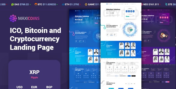 MaxiCoins - ICO Landing PSD Template - Marketing Corporate
