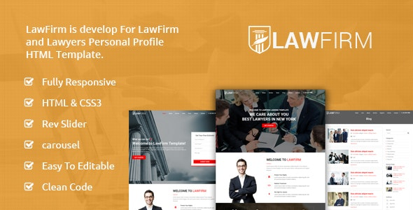 LawFirm – Responsive Landing HTML Template - Business Corporate