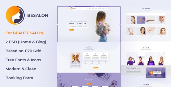 Besalon   Beauty Salon One Page PSD Template - Health & Beauty Retail