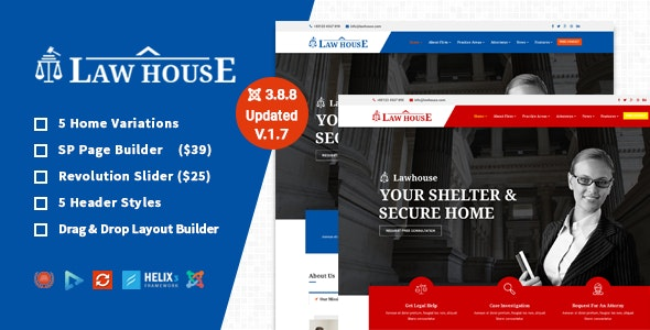 LawHouse - Joomla Template for Lawyers Attorneys and Law Firm - Business Corporate