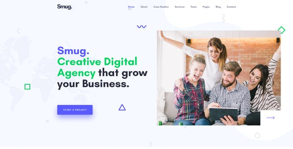 Smug Digital Agency, Marketing & Corporate Business PSD Template