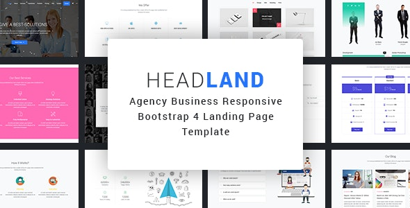 Headland - Agency Business Responsive Bootstrap 4 Landing Page Template - Landing Pages Marketing