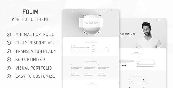 Folim Lite - Clean Minimalist Portfolio WordPress Theme - Portfolio Creative